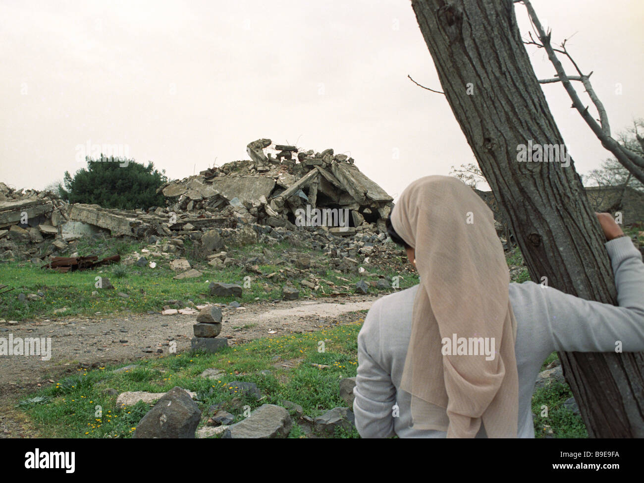 Al Kuneitra destroyed by Israeli forces in 1973 - Stock Image