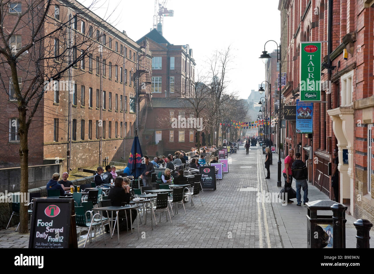 Pubs, Bars and Clubs along Canal Street in the Gay Village on a Friday evening, City Centre, Manchester, England - Stock Image