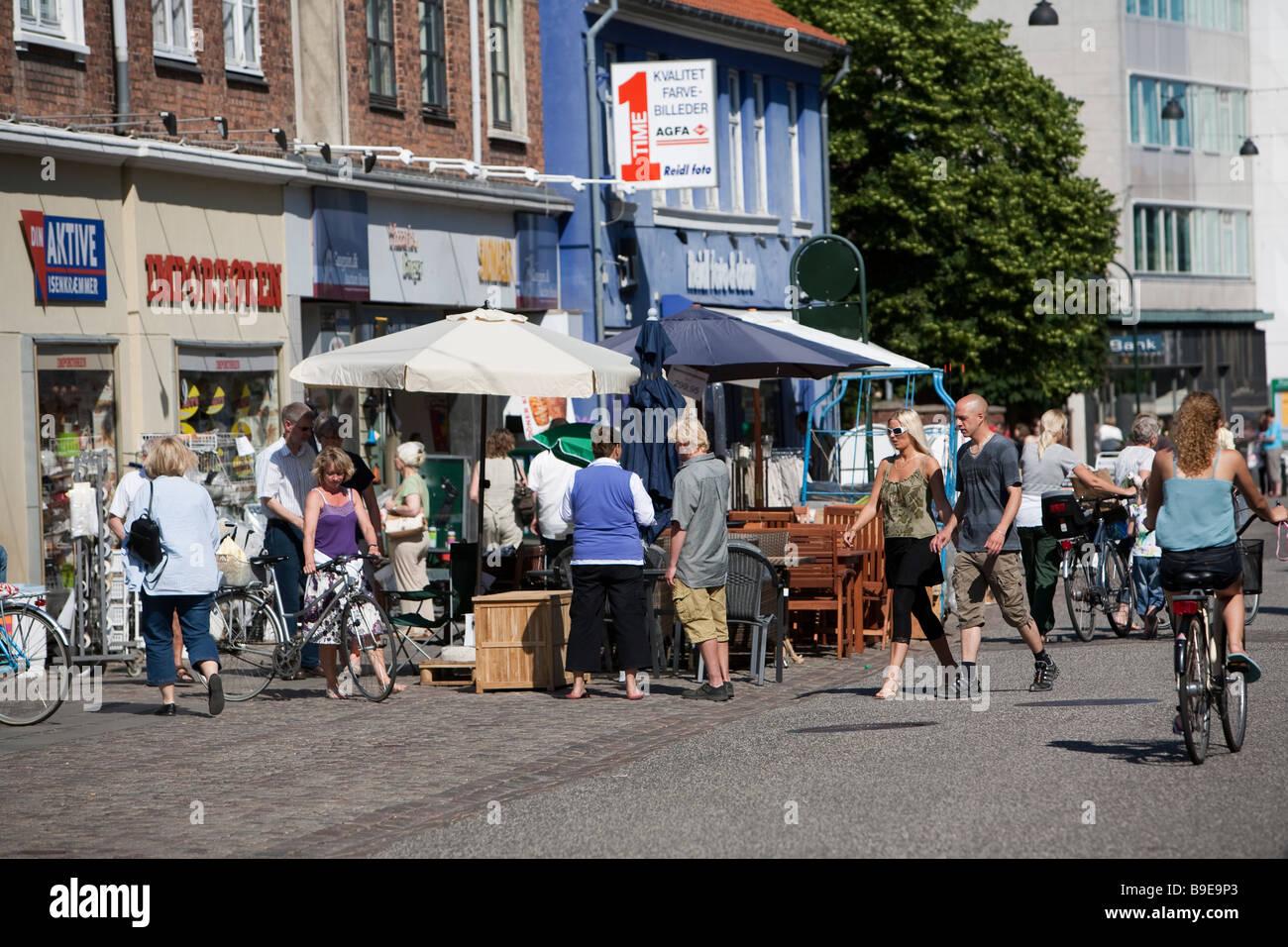 Algade street  Denmark Zealand Roskilde - Stock Image