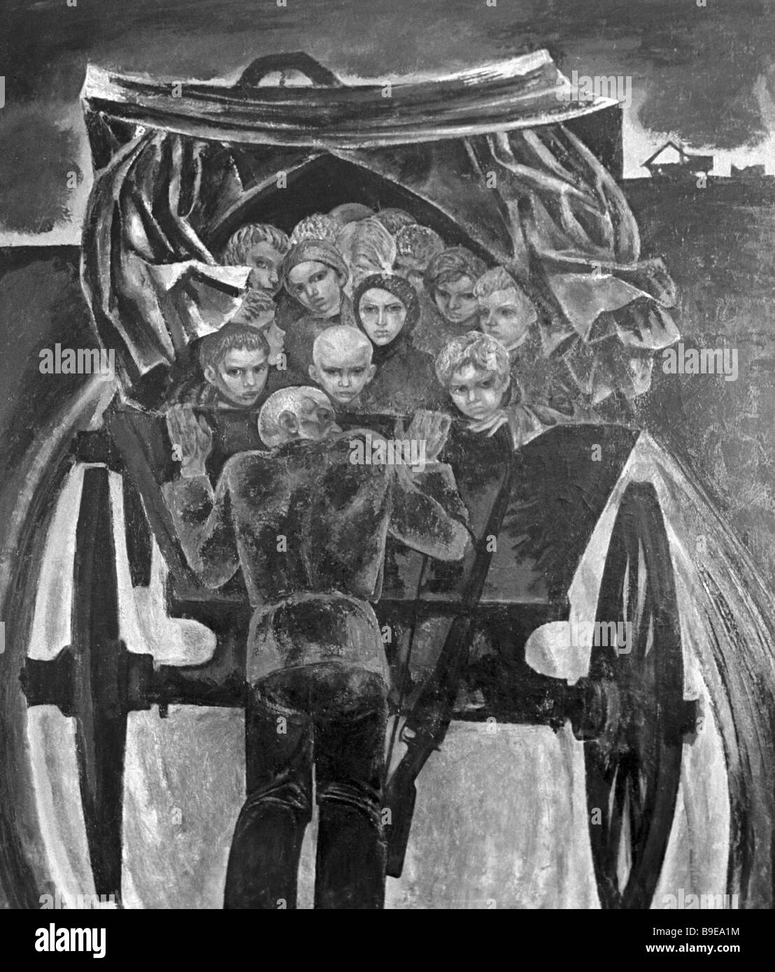 Reproduction of Mikhail Savitsky s painting Wartime children - Stock Image