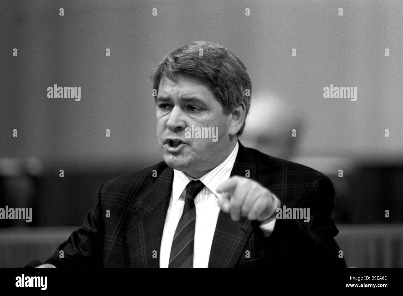 People s Deputy Yury Afanasyev rector of Moscow based Historical Archive Institute addresses Congress of USSR People - Stock Image