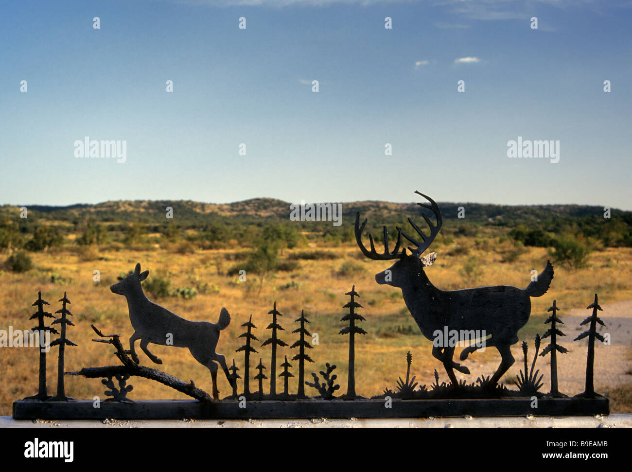 Wrought iron sign at ranch entrance near Bracketville on FM 334 highway at Edwards Plateau in Kinney County Texas - Stock Image