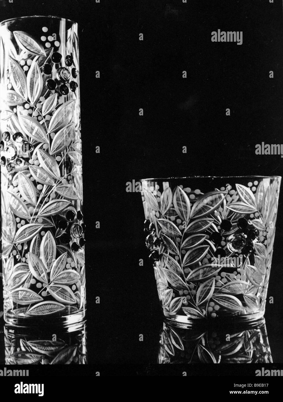 A Rowanberry set of cut glass vases Gus Khrustalny glassworks - Stock Image