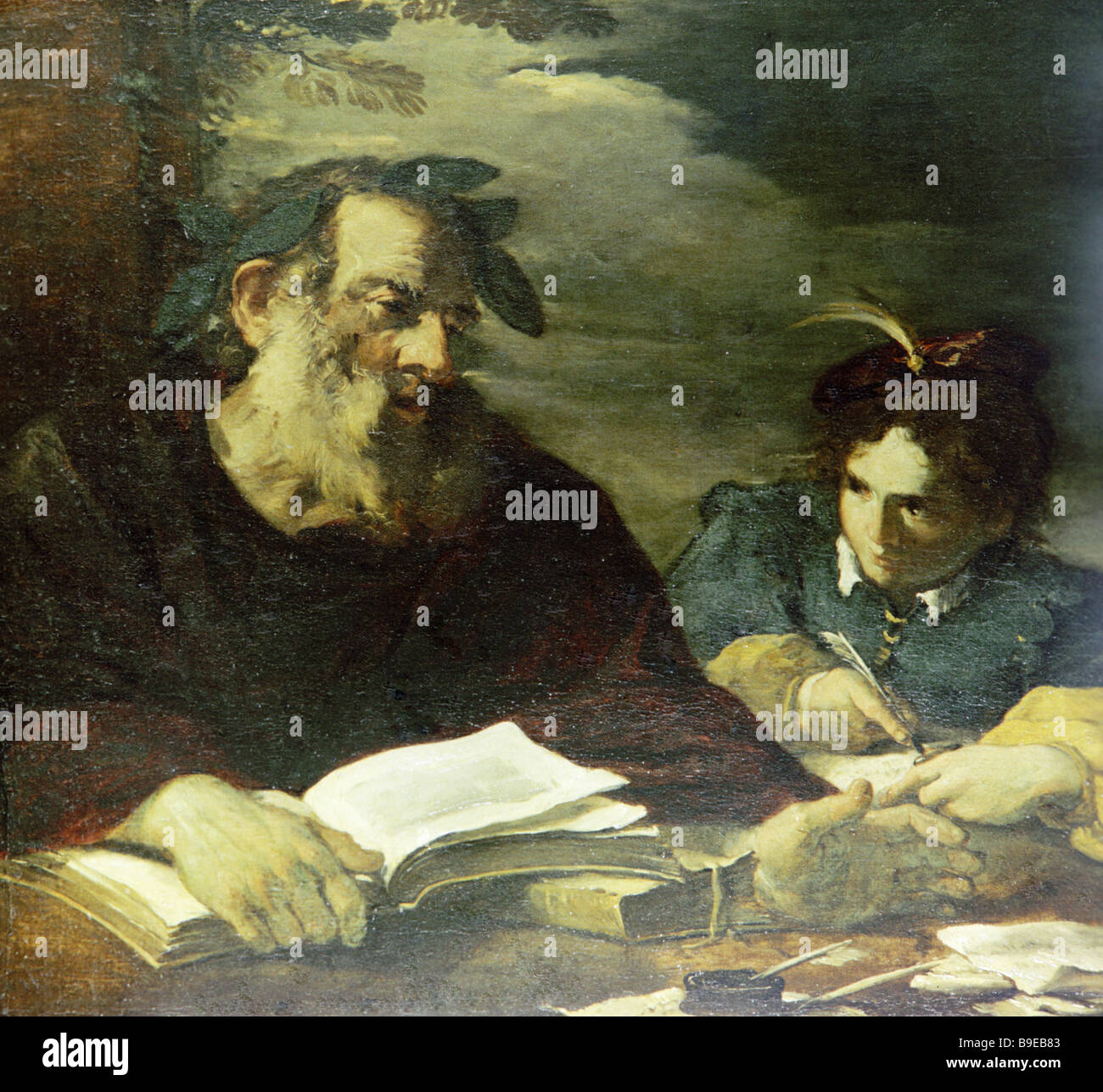 Homer Dictating His Poems by Italian painter Pier Francesco Mola 1612 1666 reproduction - Stock Image