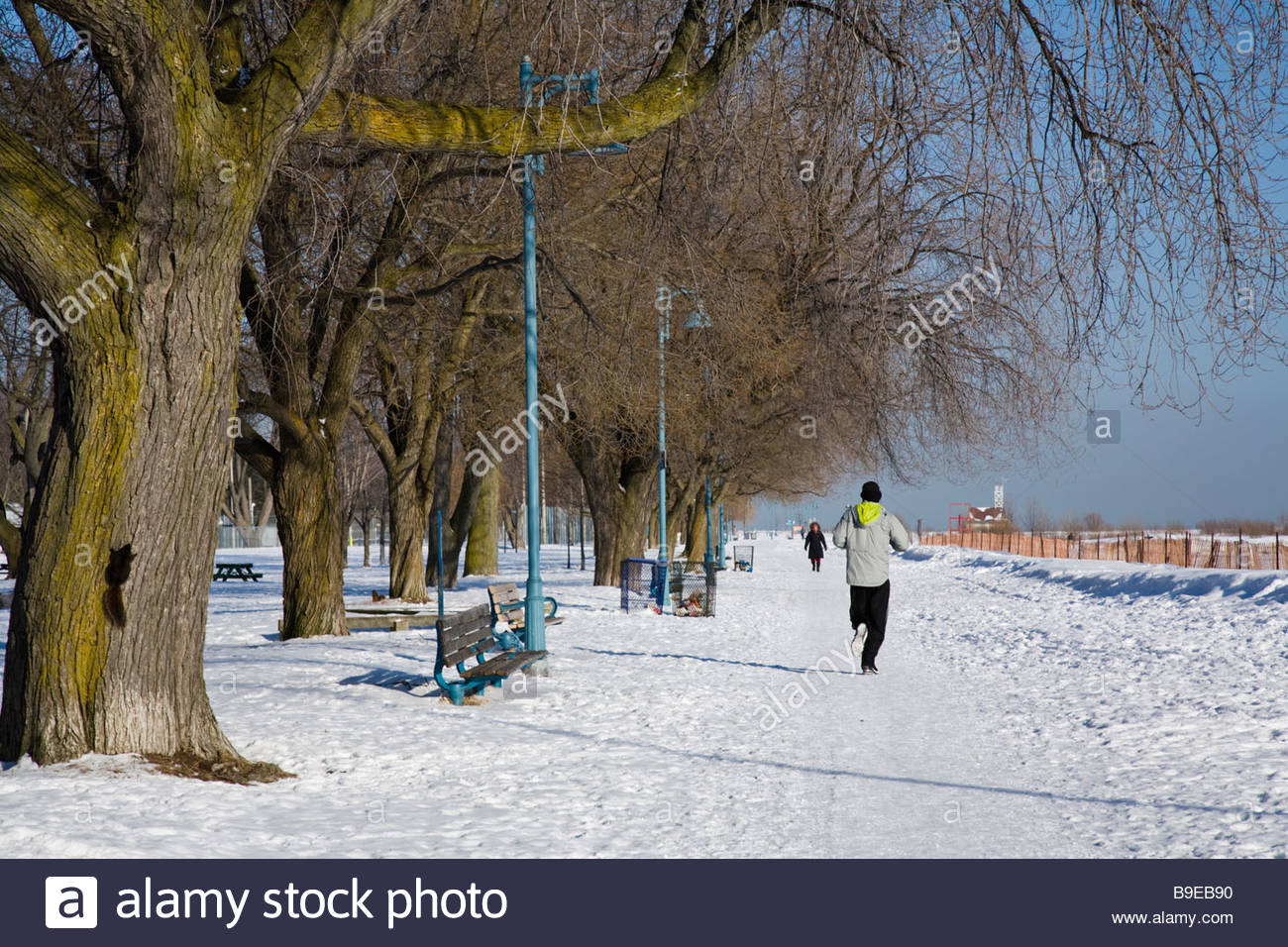 Winter run on the snow covered boardwalk in the Eastern Beaches Park in Toronto Ontario Canada - Stock Image