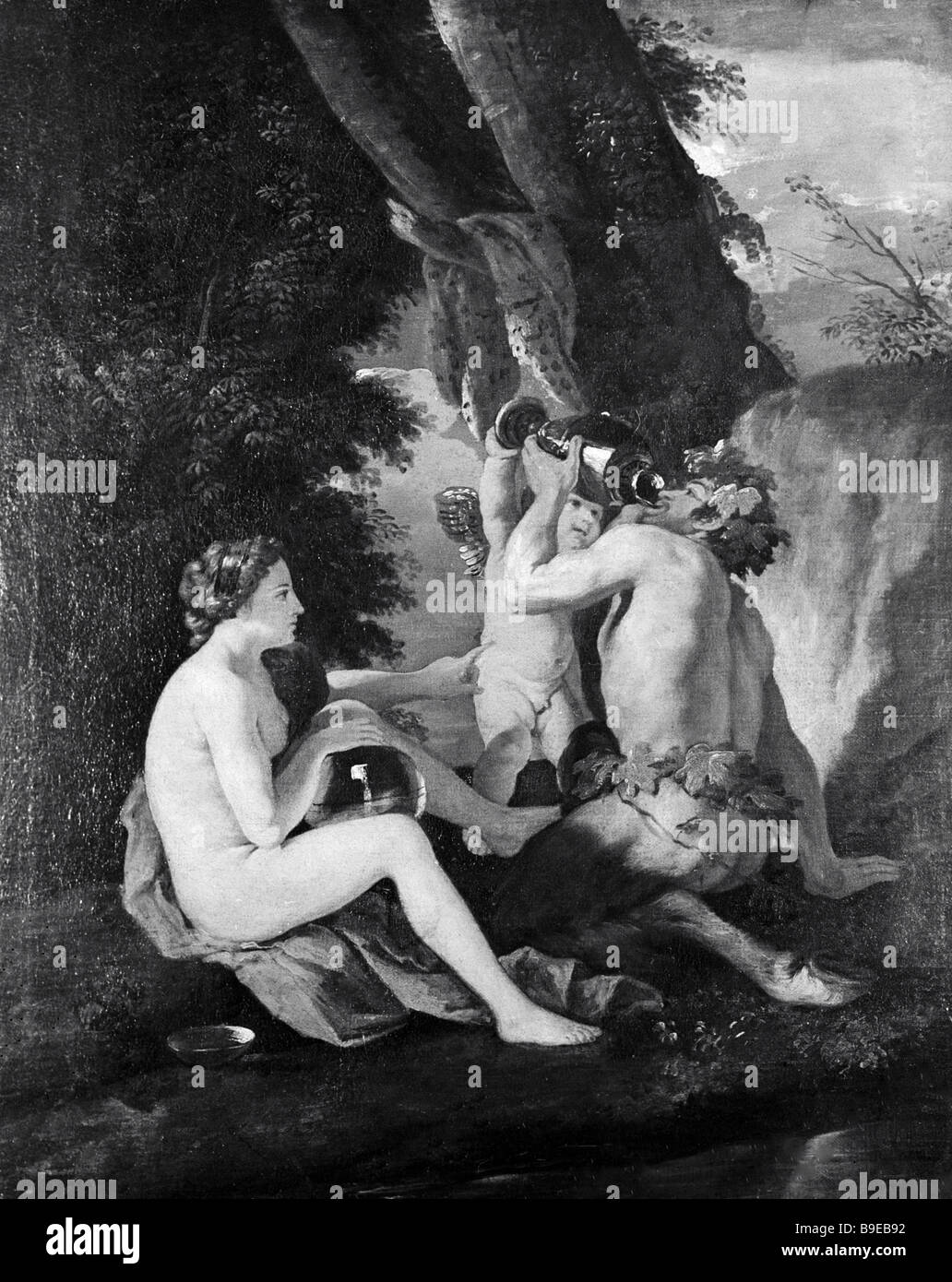 Satyr and Nymph by French painter Nicolas Poussin 91594 1665 reproduction - Stock Image