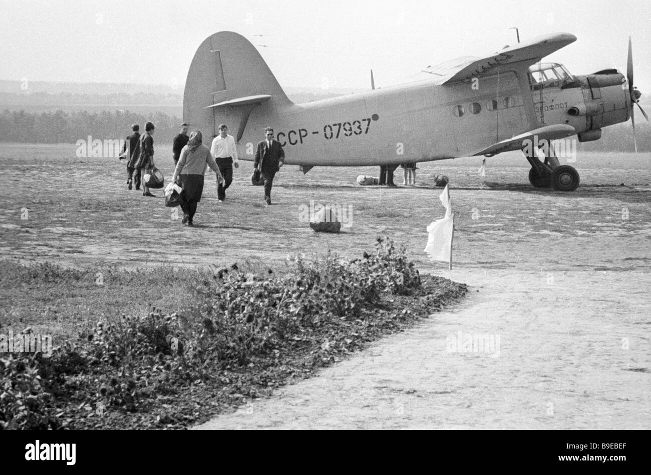 Passengers boarding the plane bound for Tatarbunary - Stock Image