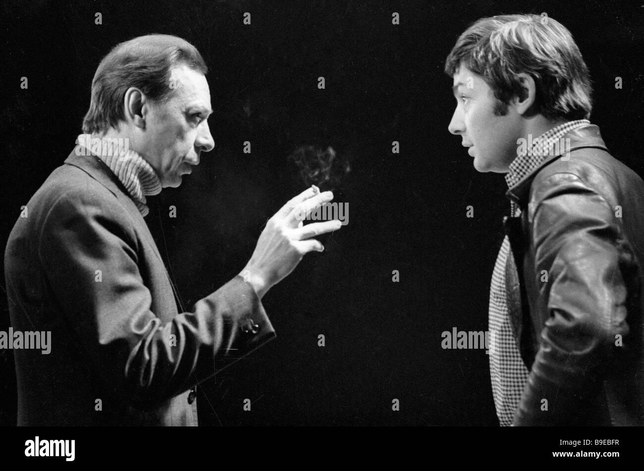 The MKhAT Theater chief producer Oleg Yefremov left and actor Vsevolod Abdulov right rehearsing - Stock Image