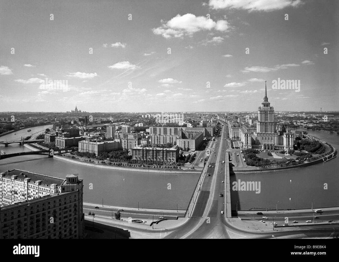 View of the Moskva River and the Kutuzov Prospekt - Stock Image