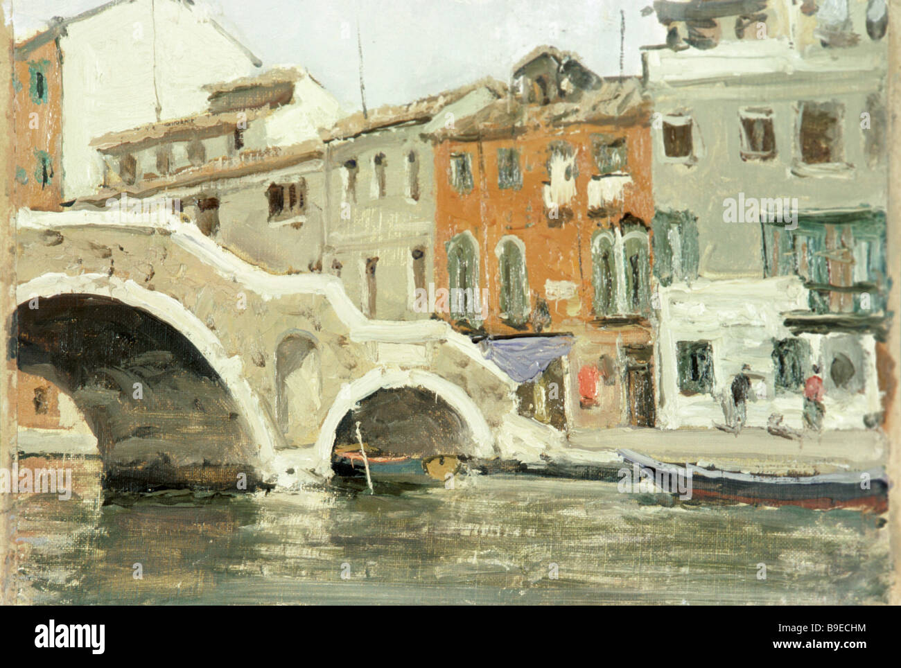 Reproduction of painting Venice Canal by Mikhail Kupriyanov of the Kukryniksy Group Stock Photo