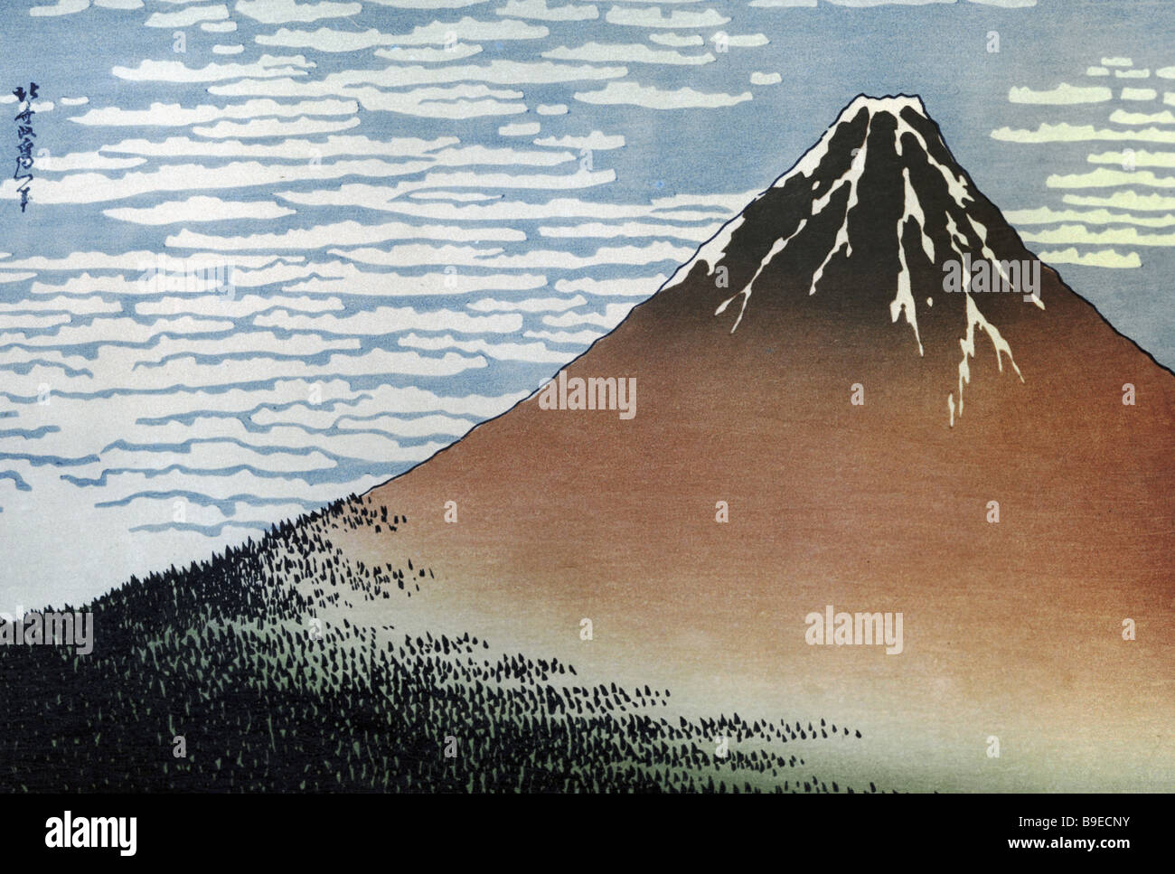 Fuji Woodcut by Hokusai 19th century Oriental Art Museum Moscow - Stock Image