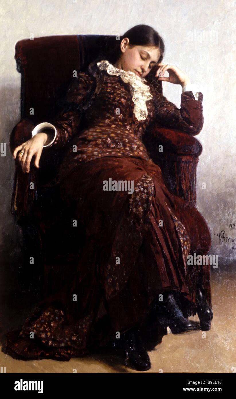 Ilya Repin Slumber portrait of the artist s wife 1882 - Stock Image