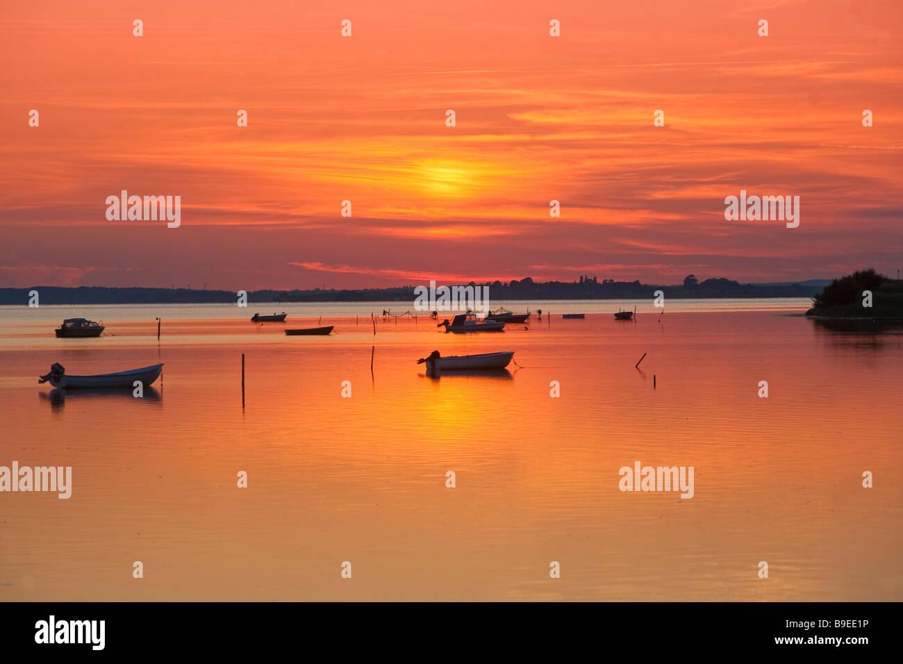 Denmark  Zealand Kalvehave Sunset on harbour Stock Photo