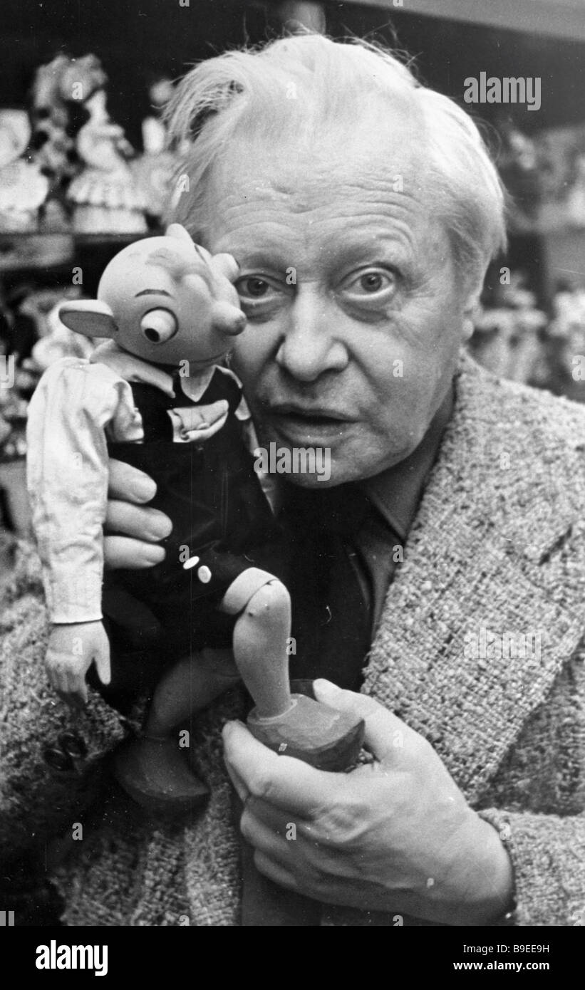 Sergei Obraztsov People s Artist of the U S S R 1946 State Prize winner art director of the Central Puppet Theater - Stock Image