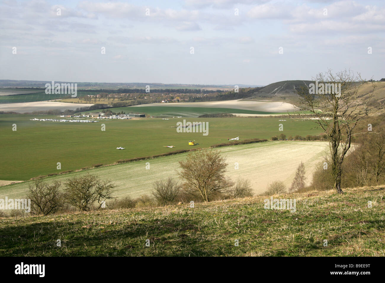 Dunstable Aerodrome, Gliding Club and Airfield, Dunstable Downs, Bedfordshire, UK - Stock Image