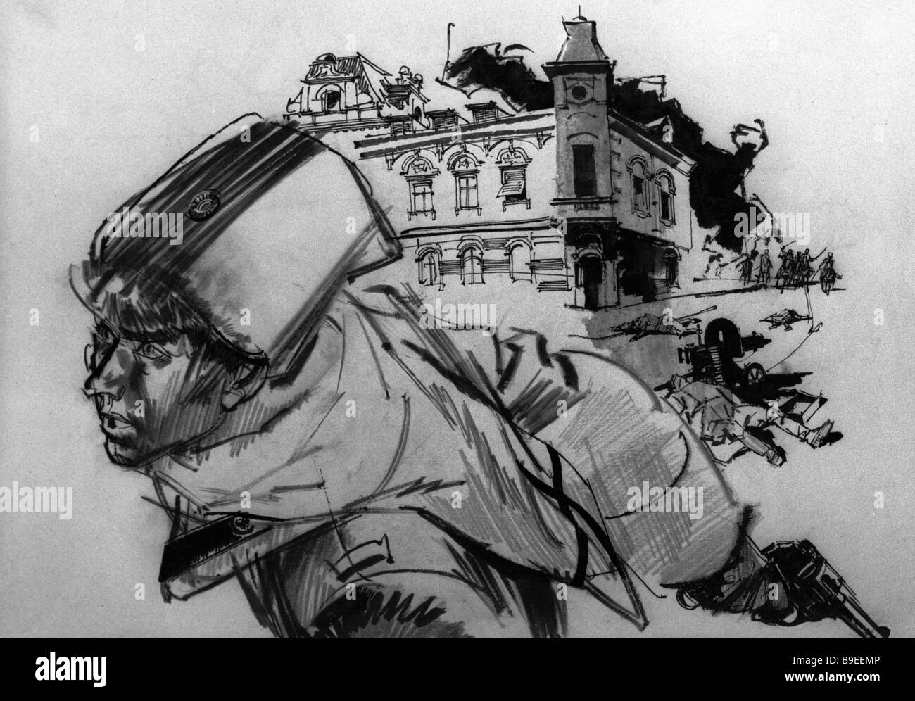 Illustration to Mikhail Bulgakov s novel The White Guards By Gennady Novoshilov Reproduction - Stock Image