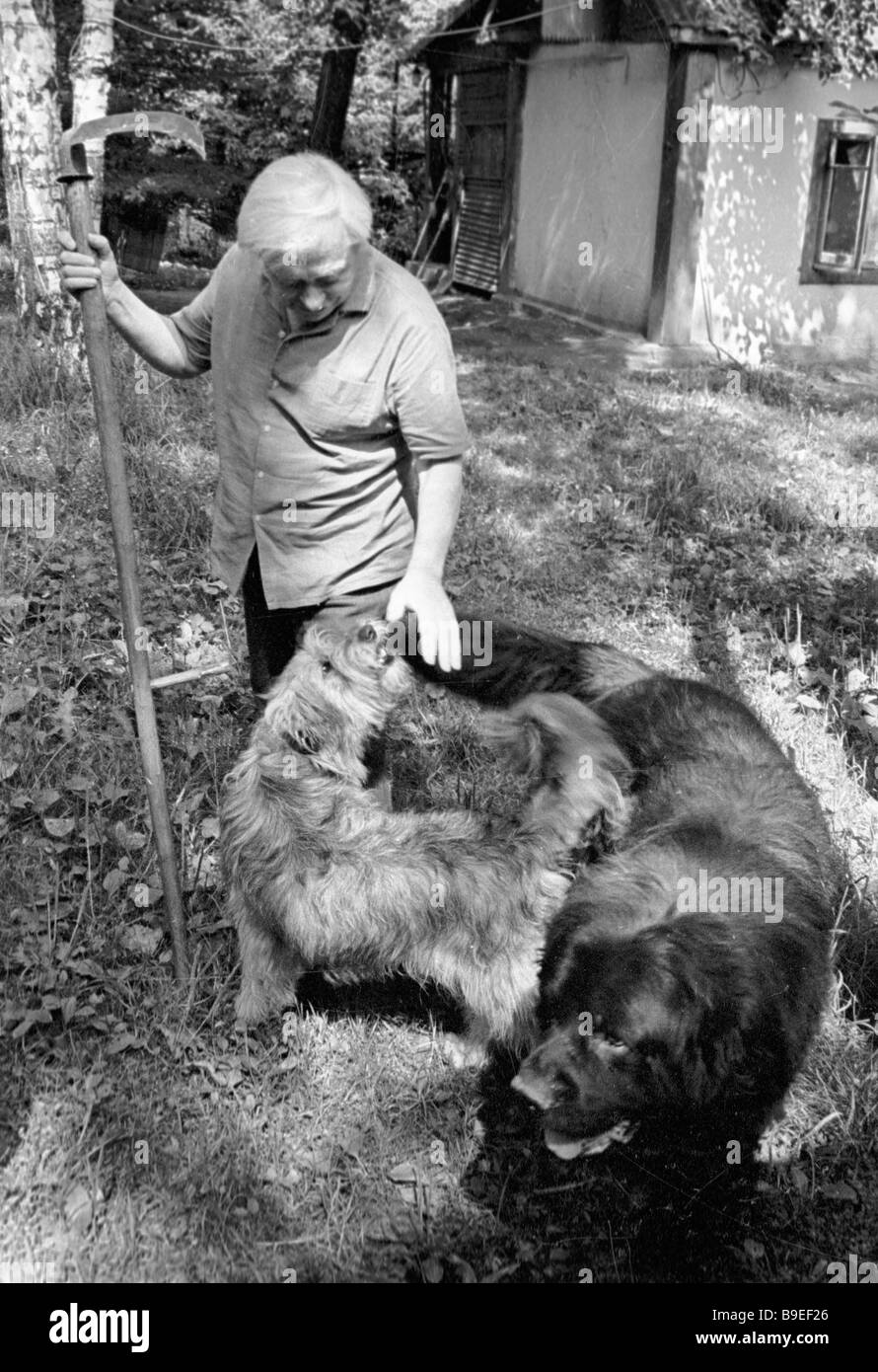 USSR People s Artist Sergei Obraztsov with his pets - Stock Image