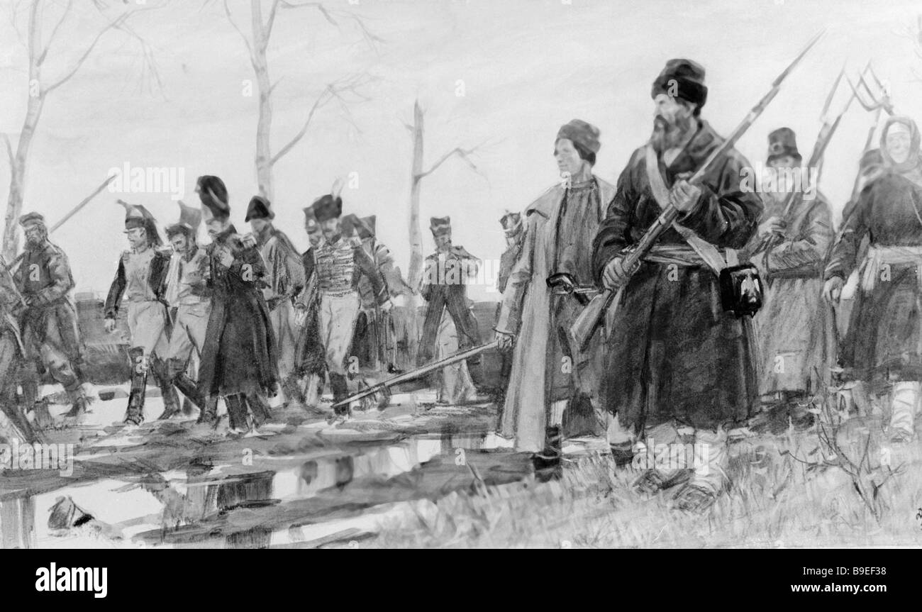 Dementy Shmarinov Guerrillas Escort French POWs An illustration to Leo Tolstoy s War and Peace State Tretyakov Gallery - Stock Image