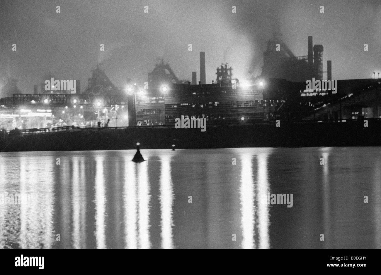 Dneprodzerzhinsk iron and steel works in the evening - Stock Image