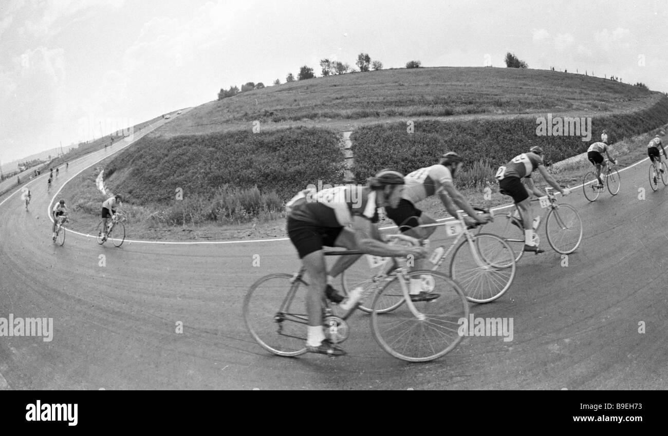 A 14 kilometer closed circuit leg of bicycle race - Stock Image