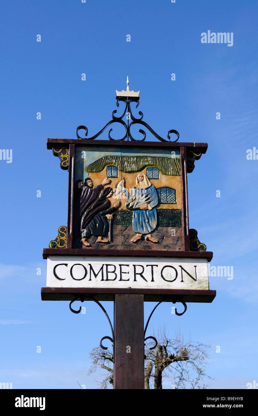 Village Sign, Comberton, Cambridgeshire England UK - Stock Image