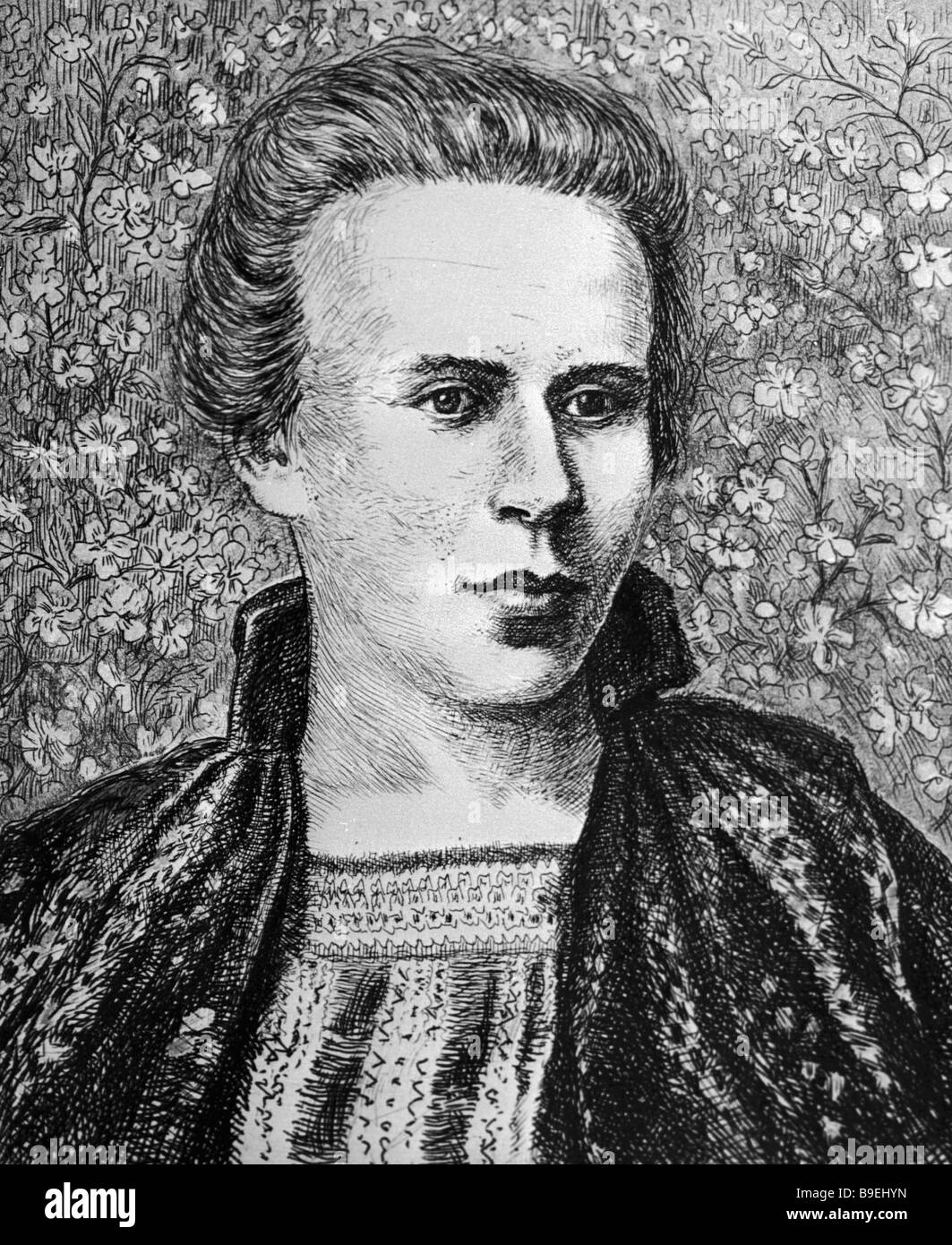 Reproduction of etching A Portrait of Lesya Ukrainka by Vasily Kassiyan - Stock Image