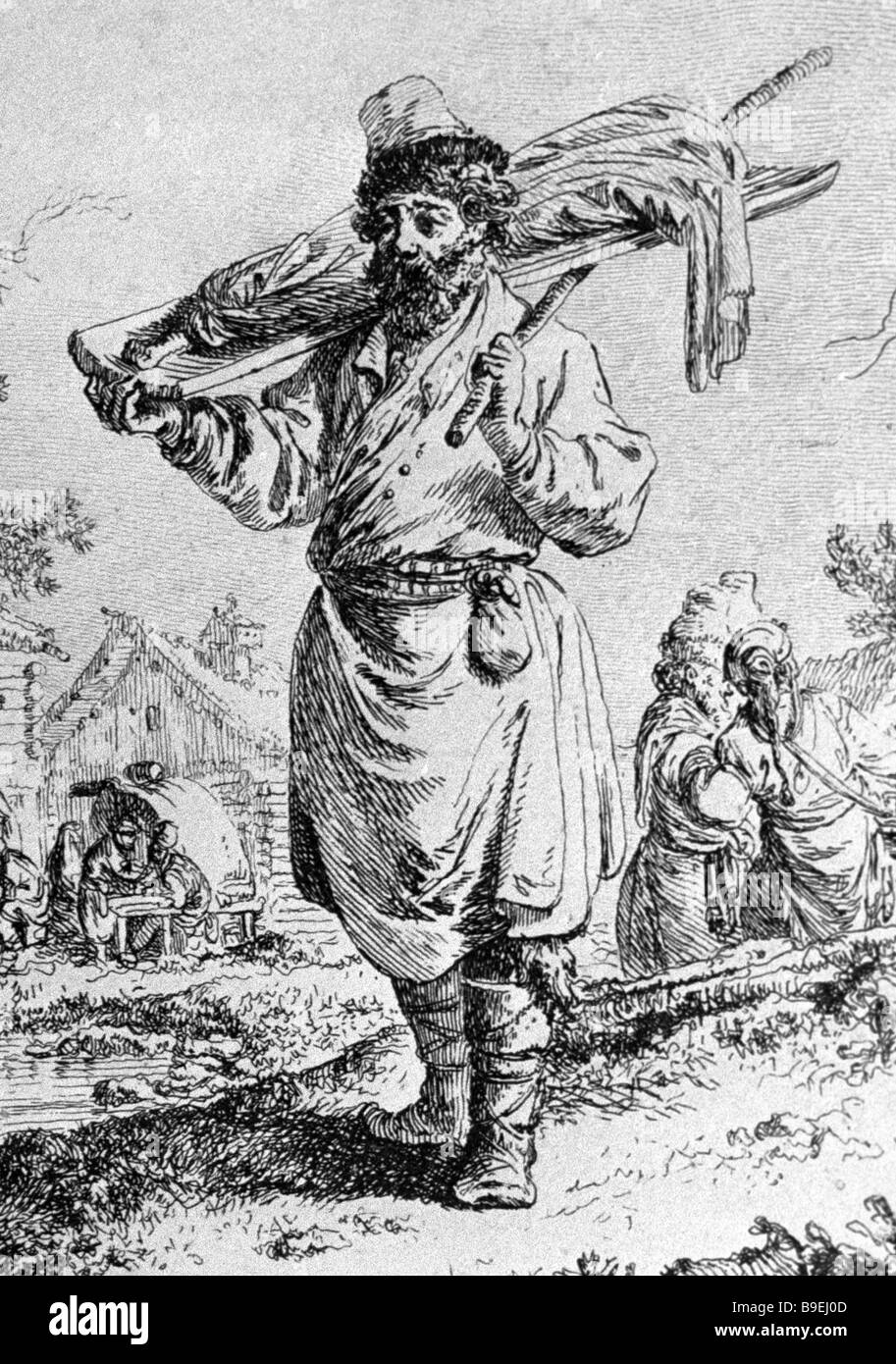 Jean Baptiste Le Prince Russian Meat Vendor 1768 State History Museum Moscow - Stock Image