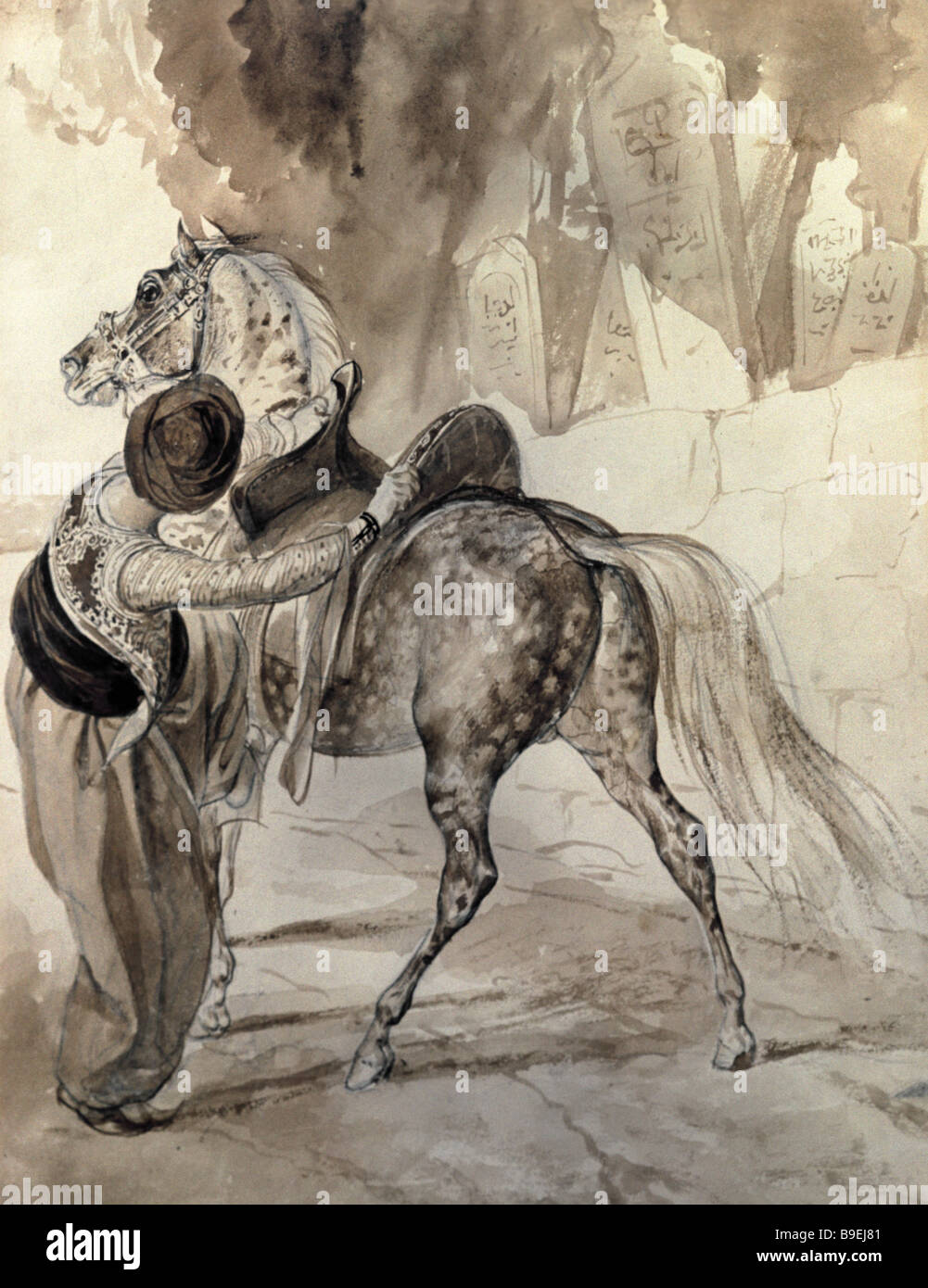 Reproduction of the sepia drawing The Mounting Turk 1835 by Karl Bryullov from the Tretyakov State Gallery collection - Stock Image