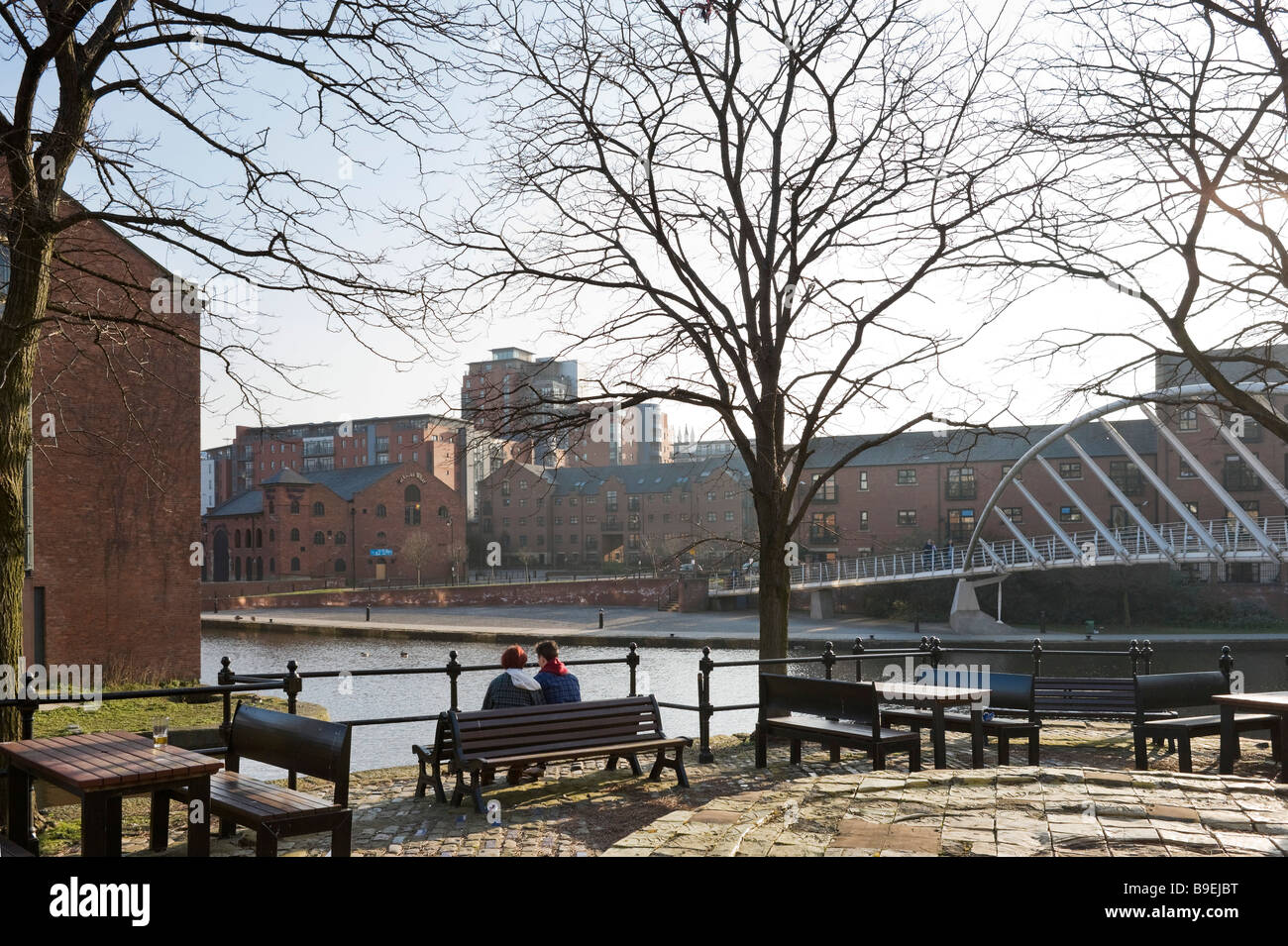 Apartments in the redeveloped canalside area of Castlefield, Manchester, England - Stock Image