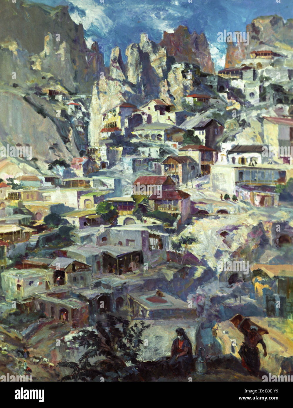 Reproduction of Eduard Isabekian s painting Khndzoresk Village collection of the National Gallery of Armenia Stock Photo