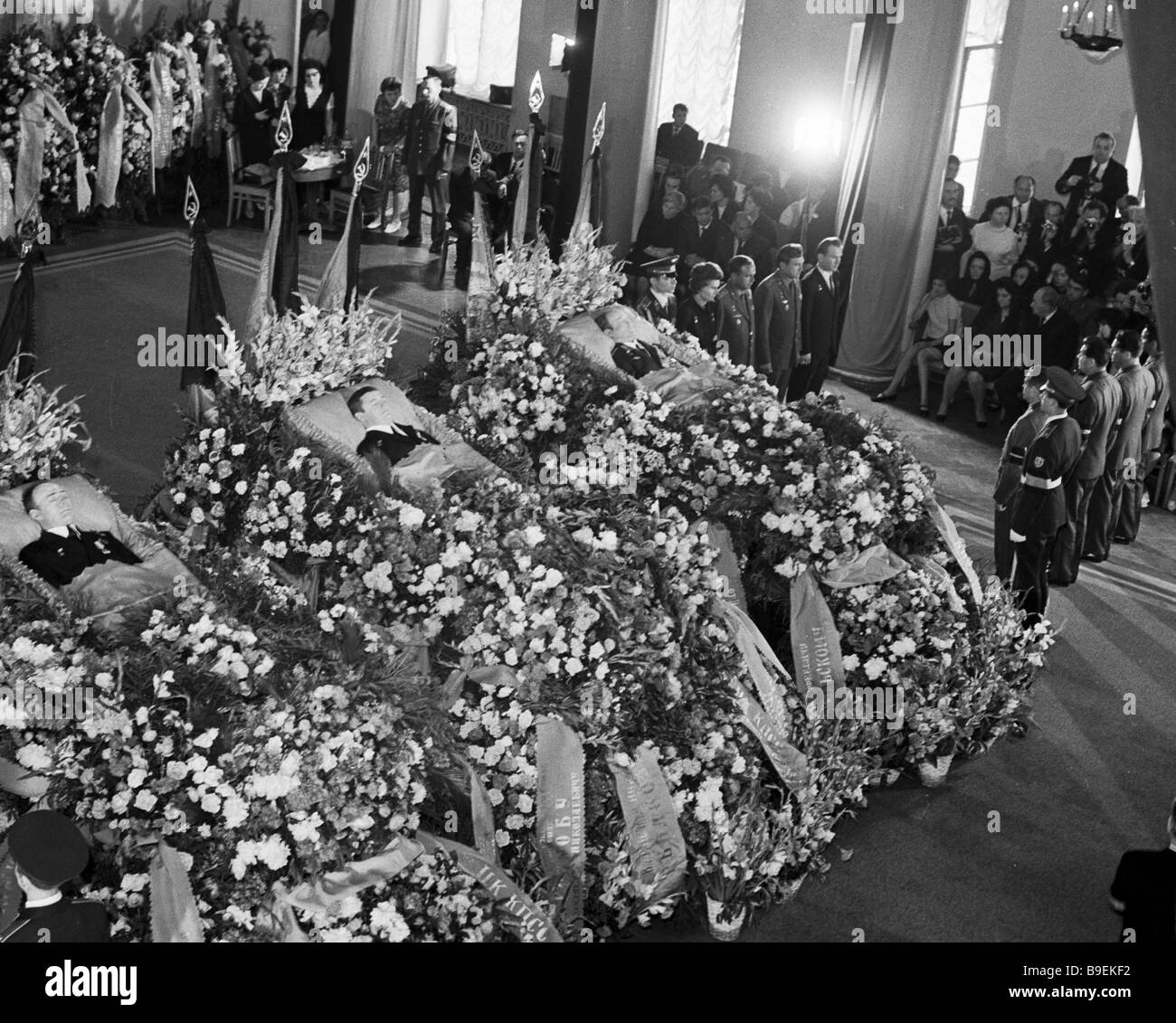 Soviet cosmonauts in guard of honor right at goodbye ceremony with the Soyuz 11 spacecraft crew Georgy Dobrovolsky - Stock Image