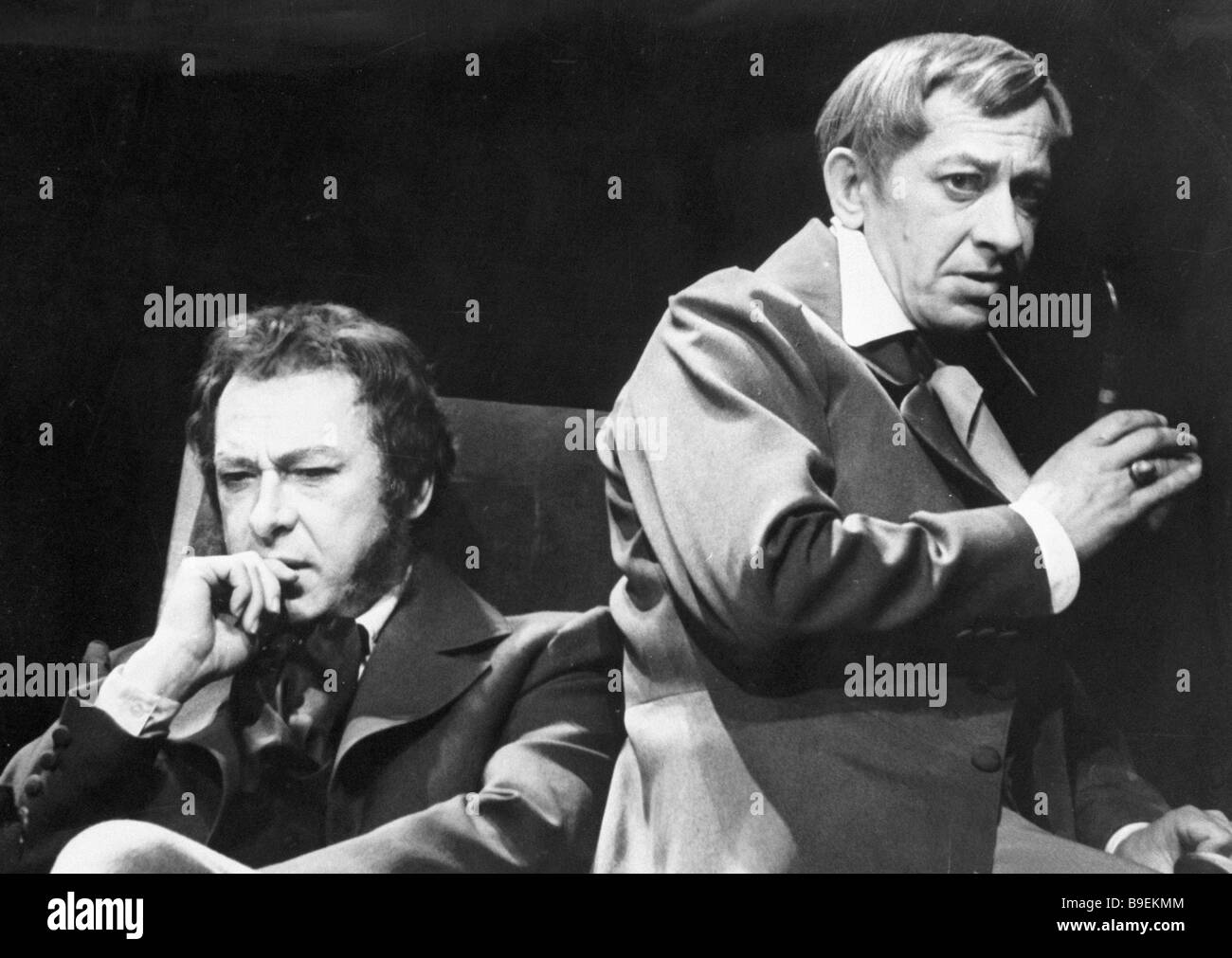 Oleg Yefremov as Pushkin left and Yevgeny Yevstigneyev as Sobolevsky in the play Copper Grandmother by Leonid Zorin - Stock Image