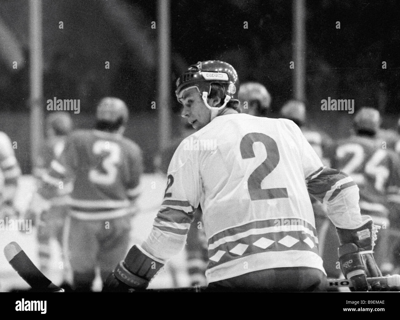 USSR full back Vyacheslav Fetisov in the foreground during the 12th  international hockey tournament the winner 8ac91f587