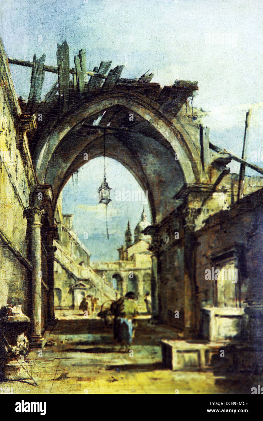 Francesco Guardi A Townscape of Venice Pushkin State Fine Arts Museum Moscow - Stock Image