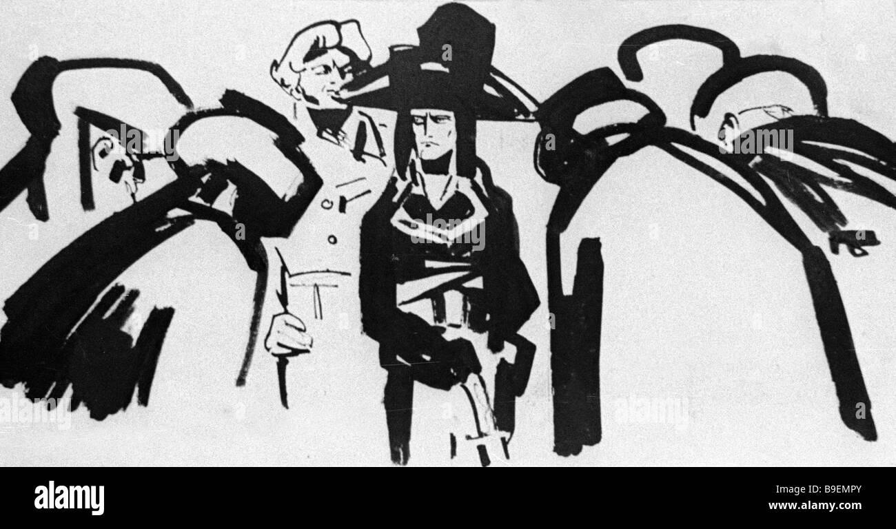 Pavel Bunin s illustration to Victor Hugo s poem Buonaparte - Stock Image