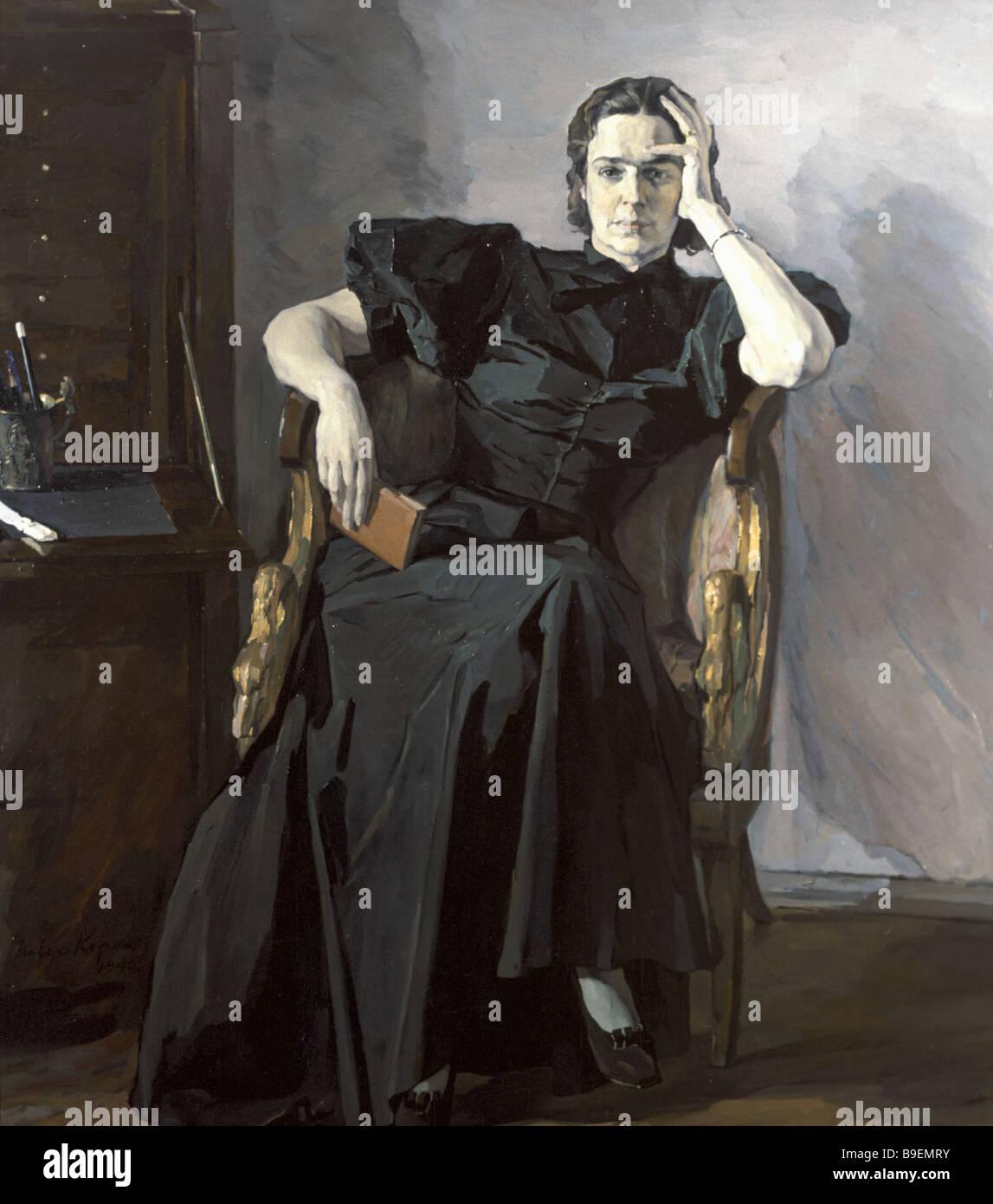 Pavel Korin Portrait of Nadezhda Peshkova 1940 State Tretyakov Gallery Moscow - Stock Image