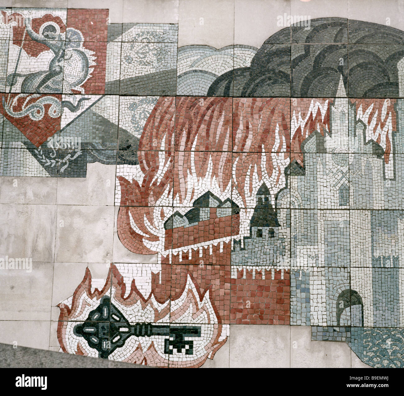 Thalberg The People s Militia and the Moscow Conflagration Mosaic on the outer wall of the Battle of Borodino museum - Stock Image