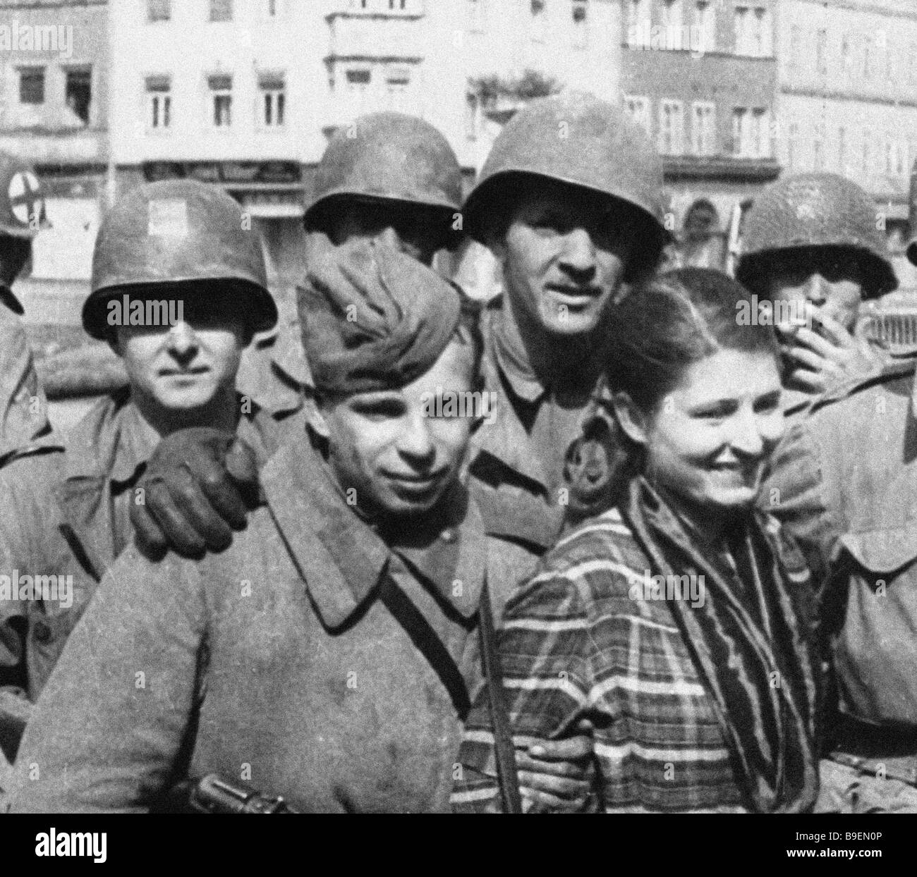 Still from the film Allies from the Unknown War Soviet American epic documentary Art director Roman Karmen - Stock Image