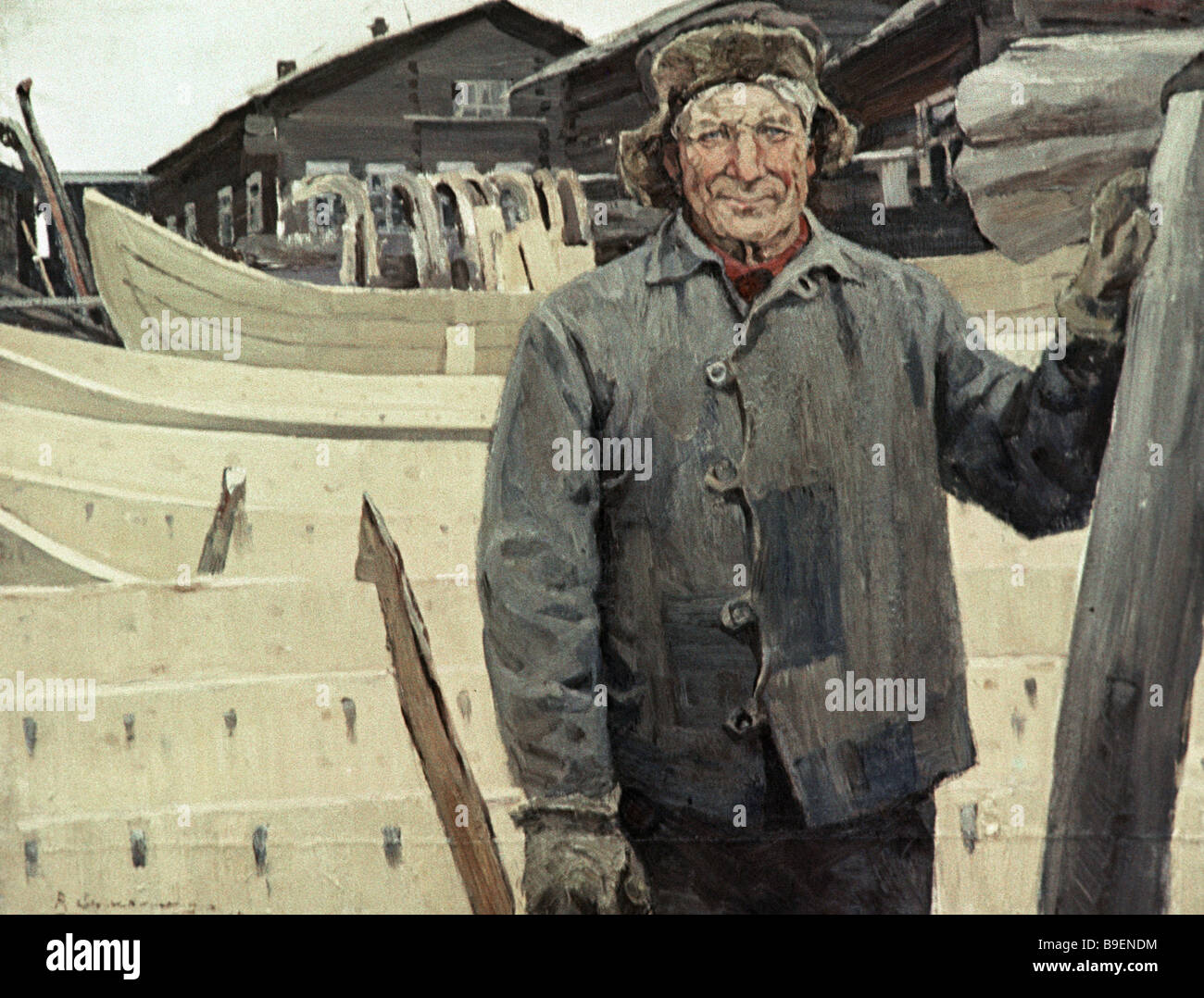 Rem Yermolin Boat Maker Malyshev Exhibited at the exposition Artists of the North - Stock Image