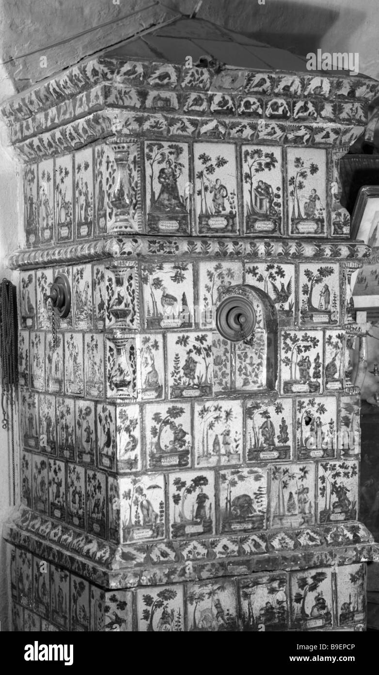 A mid 18th century tiled stove State History Museum Moscow - Stock Image