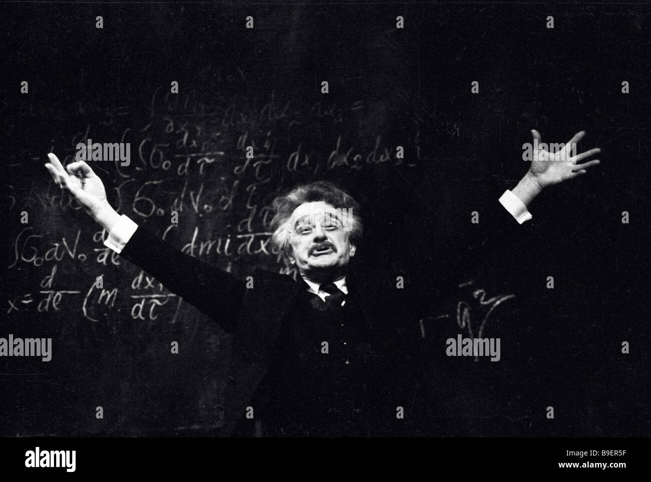 Anatoly Ktorov as Albert Einstein in The Countdown staged by Maksim Gorky Artistic theatre in Moscow - Stock Image