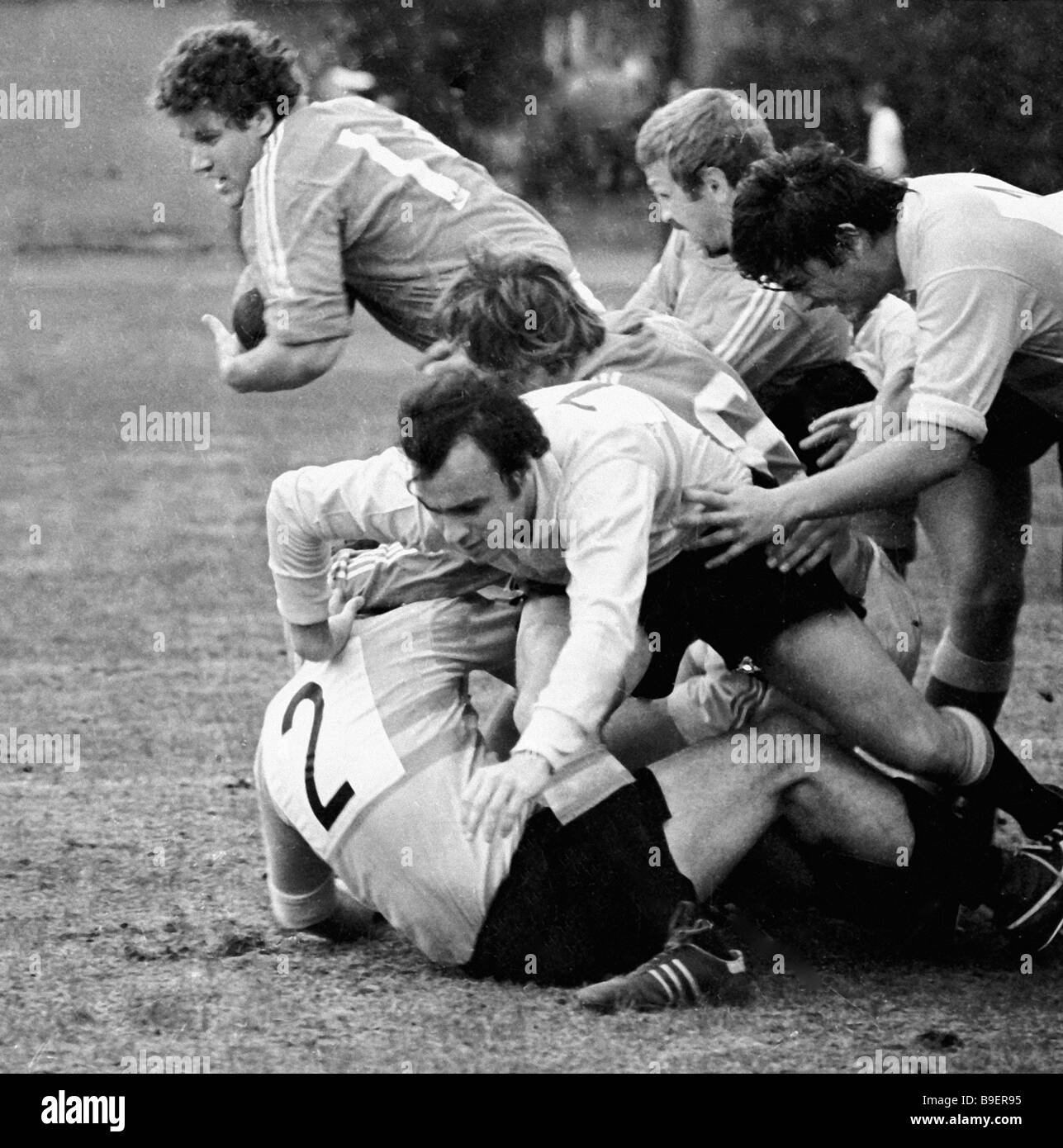USSR versus Spain European Rugby Championship - Stock Image