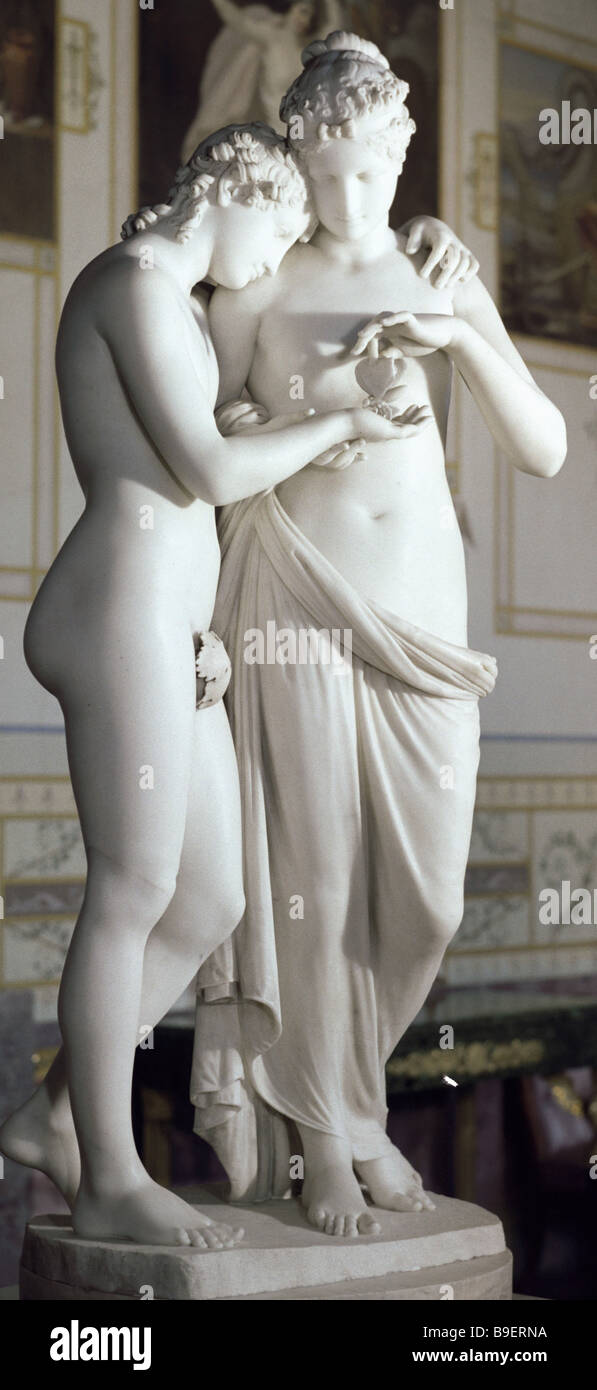 Amor et Psyche sculptural composition by Antonio Canova Marble Collection of the State Hermitage museum - Stock Image