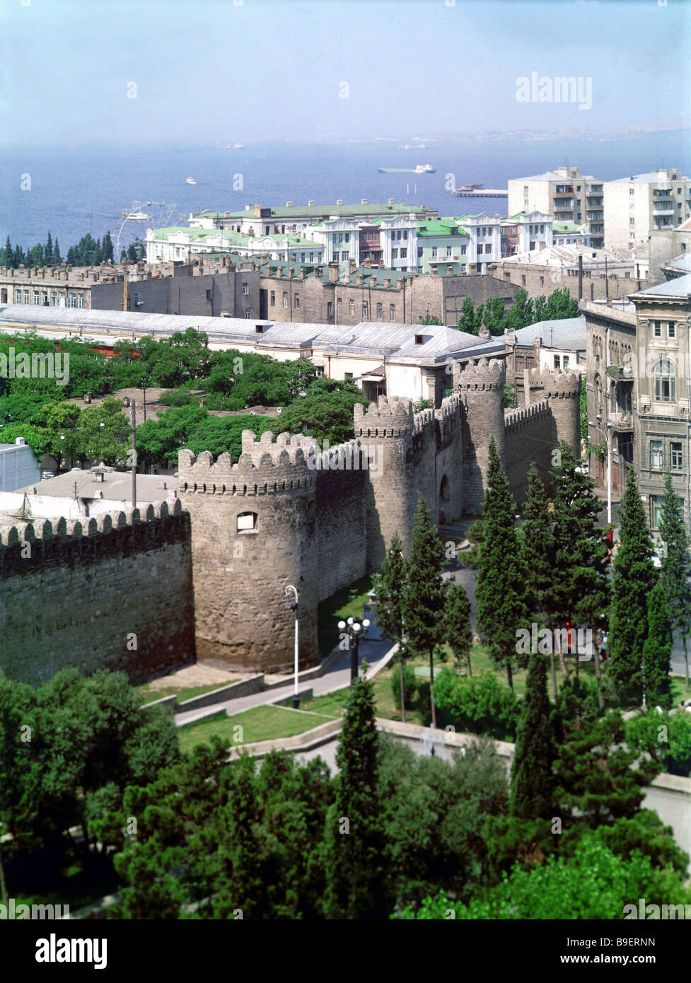 A fortress in Baku reminds of the town s feudal past - Stock Image