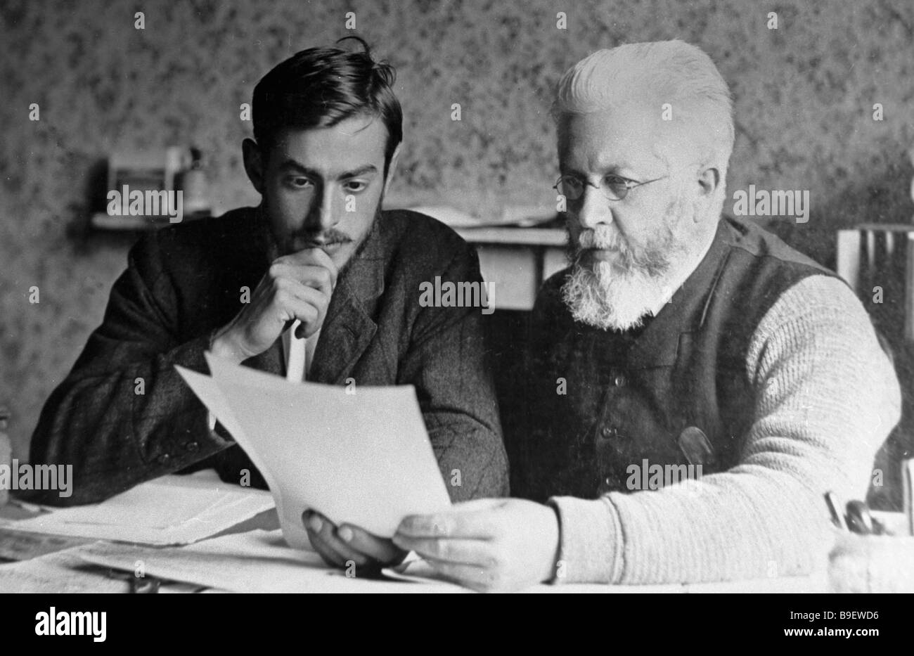 Philosophy writer Fyodor Strakhov right and his secretary Alexey Sergeenko Reproduced photo from the Leo Tolstoy - Stock Image