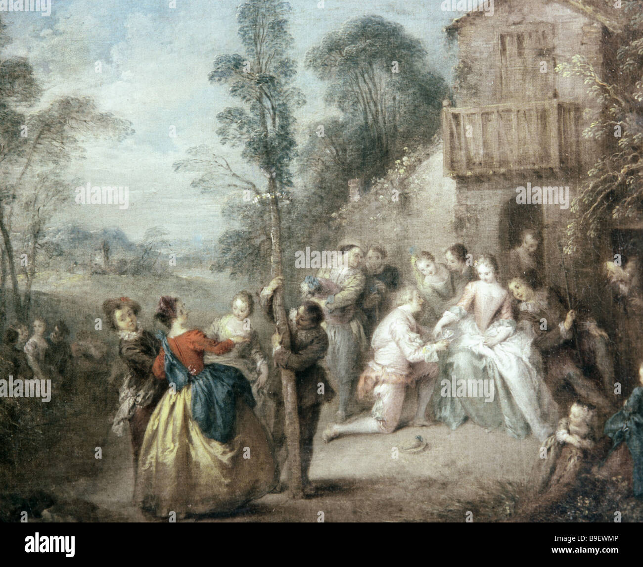 Reproduction of Jean Baptiste Pater s 1695 1736 painting May Tree Holiday from collection of Pushkin State Museum - Stock Image