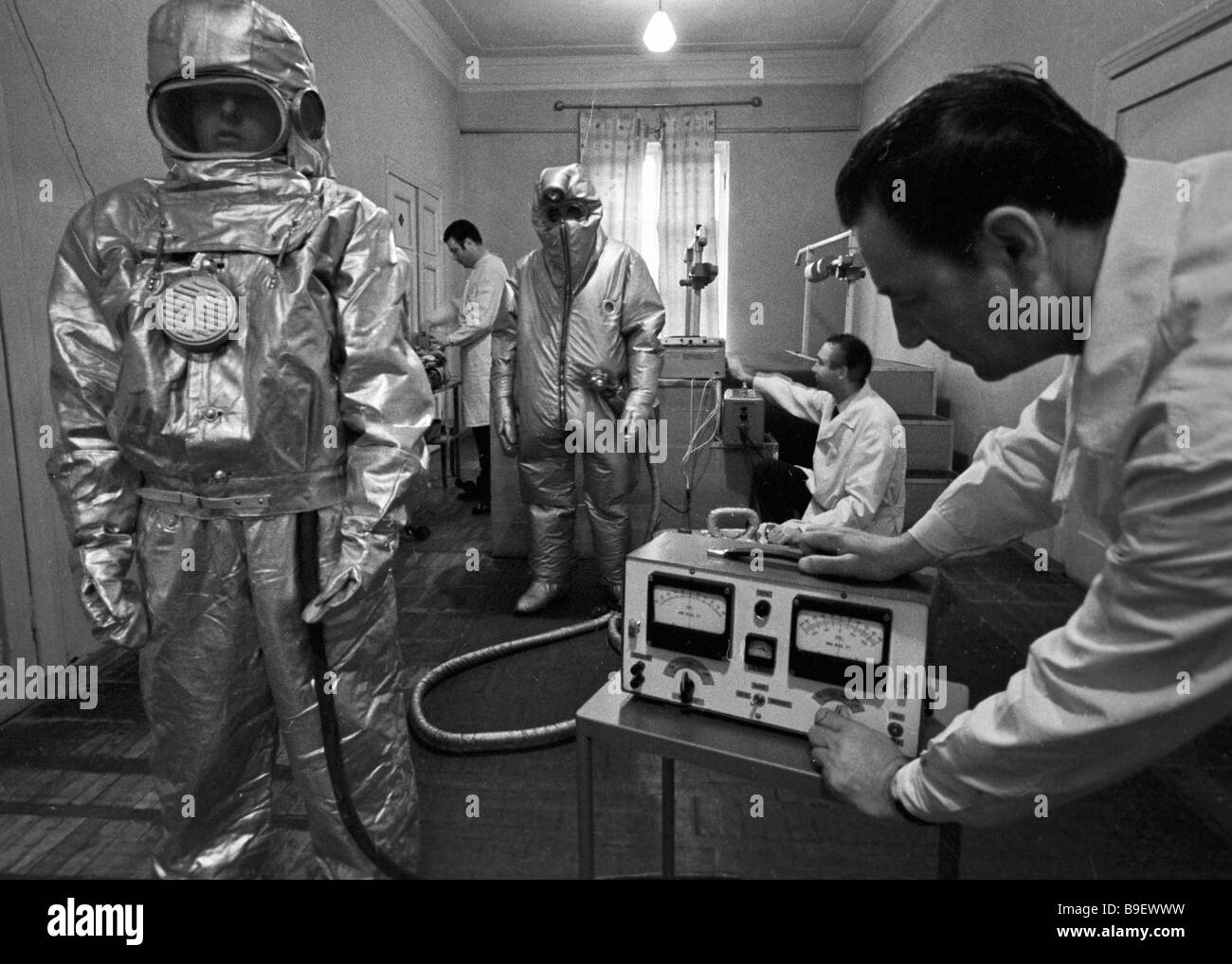 Studying microclimate of a heat protective suit in the laboratory of All Union Mine Rescue Research Institute - Stock Image