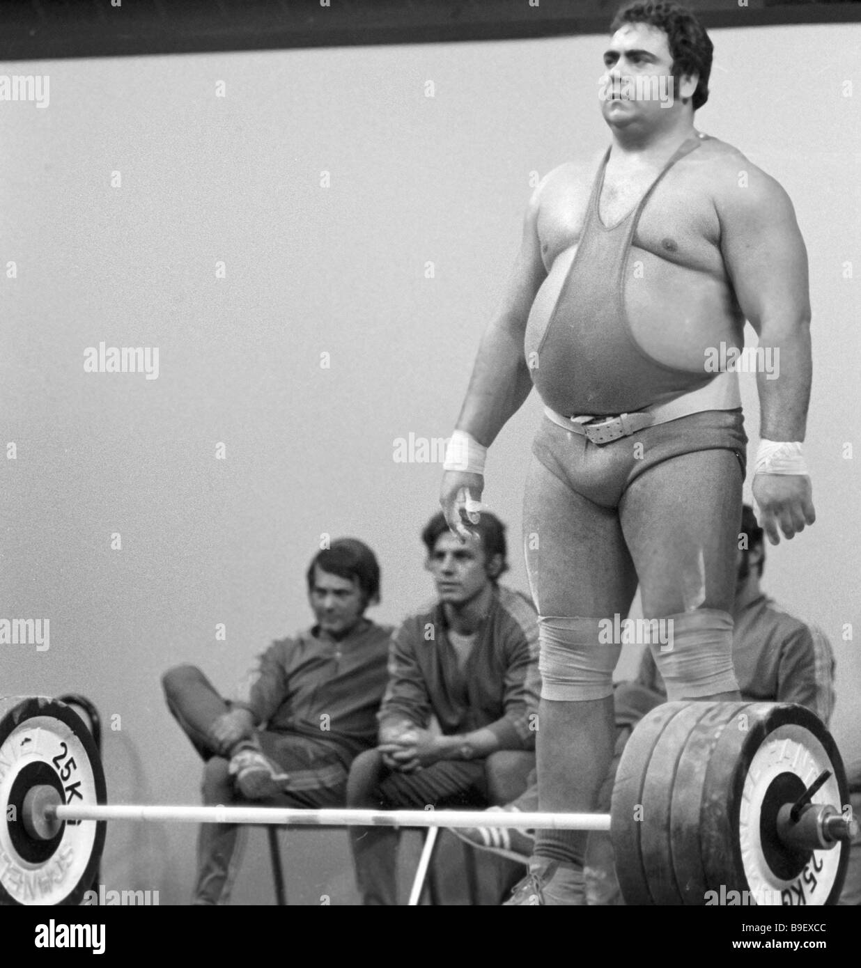 XX Munich Olympics Champion Vasily Alekseyev a Soviet weightlifter ready to break another record - Stock Image