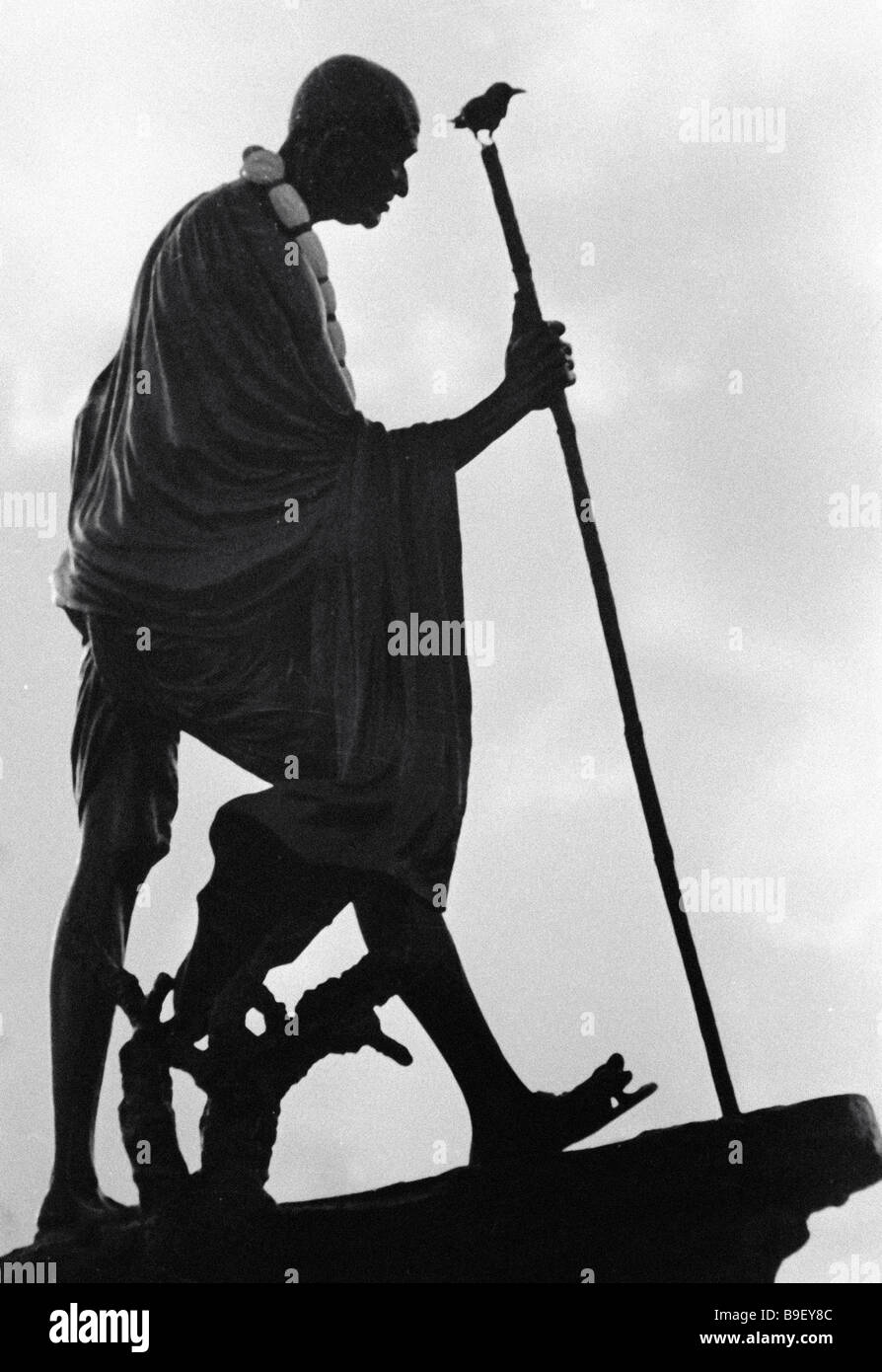 Monument to Mahatma Gandhi in India - Stock Image