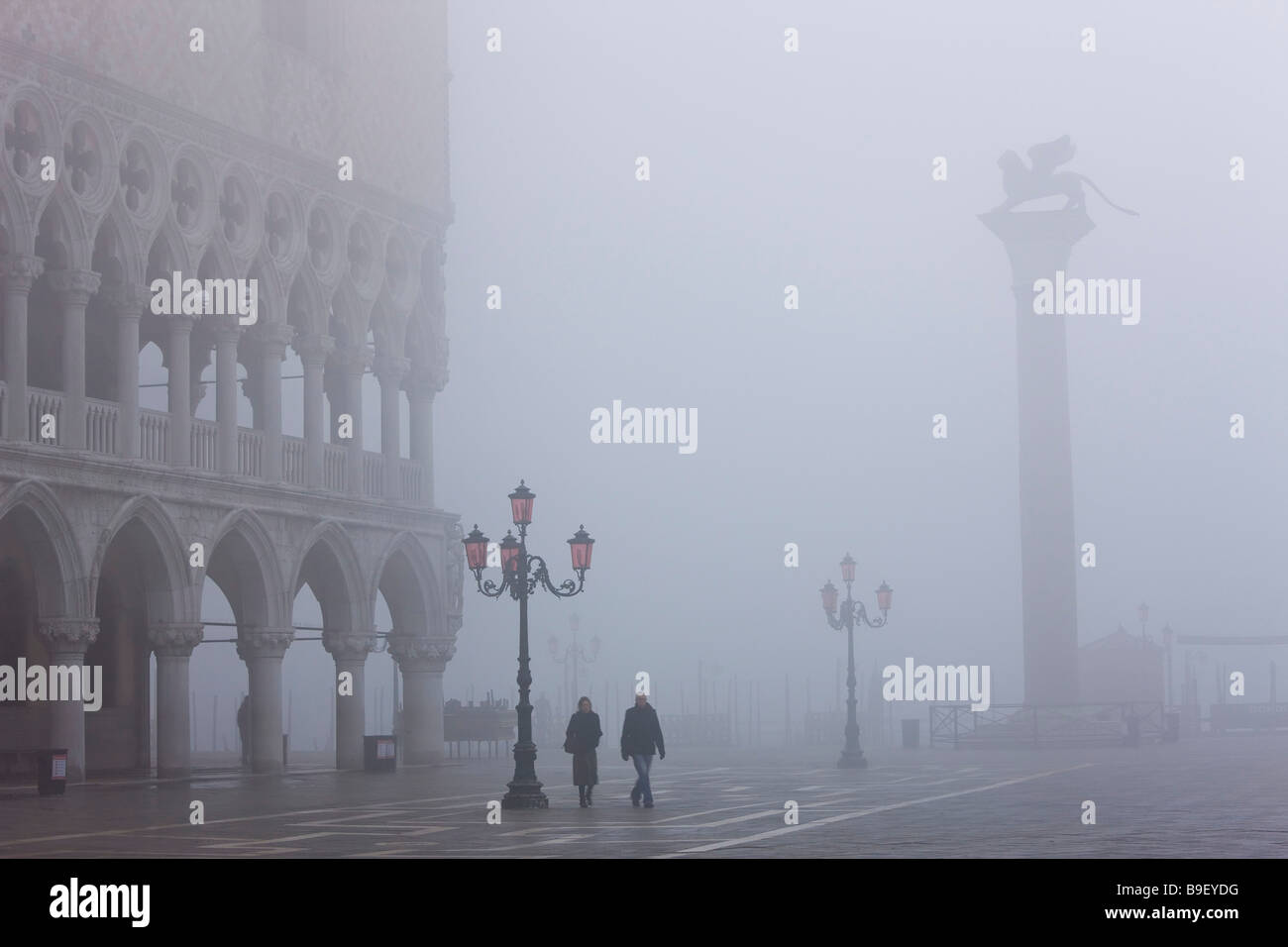 Mist in San Marco Square Venice Italy - Stock Image